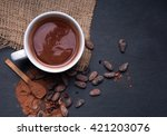 hot chocolate on the black... | Shutterstock . vector #421203076
