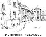 city street sketch | Shutterstock .eps vector #421203136
