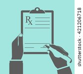 doctor writing prescription.... | Shutterstock .eps vector #421206718