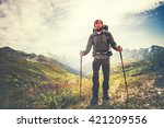 traveler man with backpack and... | Shutterstock . vector #421209556