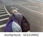 Old Man Carry Belonging Walk...