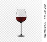 glass wine glass with red wine. ... | Shutterstock .eps vector #421231702