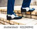 men mens shoes street city  | Shutterstock . vector #421240942