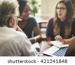 friends working discussion... | Shutterstock . vector #421241848