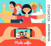 selfie photo of friends banners ... | Shutterstock .eps vector #421245112