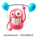 gym  emoticon face. 3d... | Shutterstock . vector #421248622