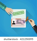 hand puts a stamp in the... | Shutterstock . vector #421250395