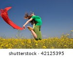 beautiful young woman jumping... | Shutterstock . vector #42125395