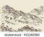 mountain peaks  altitude... | Shutterstock .eps vector #421260382