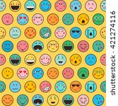 seamless pattern with emoticons ... | Shutterstock .eps vector #421274116