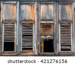 Wooden Window. Horror Concept.