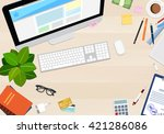 desk of wood with various... | Shutterstock .eps vector #421286086
