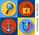 internet marketing icons set.... | Shutterstock .eps vector #421286155