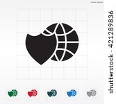 shield icon with a world globe   Shutterstock .eps vector #421289836