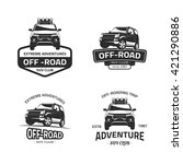 set of four off road suv car... | Shutterstock .eps vector #421290886