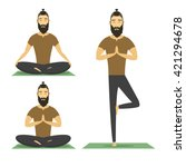 yoga meditation man with beard... | Shutterstock .eps vector #421294678