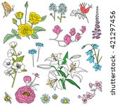 hand drawn flowers doodle set | Shutterstock .eps vector #421297456