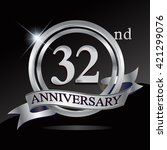 32nd anniversary logo with... | Shutterstock .eps vector #421299076