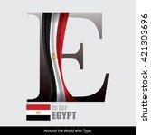 vector letter e is for egypt... | Shutterstock .eps vector #421303696