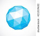 3d vector digital wireframe... | Shutterstock .eps vector #421319632