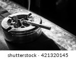 cigarette on stainless ashtray. ... | Shutterstock . vector #421320145