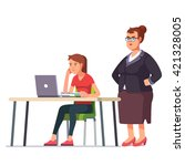 fat boss woman looking over a... | Shutterstock .eps vector #421328005