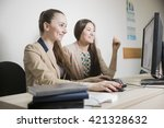 two girl students are sitting... | Shutterstock . vector #421328632