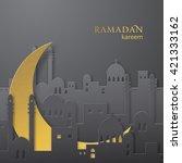 ramadan greetings paper cut...   Shutterstock .eps vector #421333162