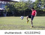 young child play soccer ball in ... | Shutterstock . vector #421333942