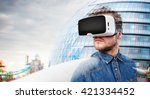 man wearing virtual reality... | Shutterstock . vector #421334452
