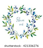 floral wreath with hand drawn... | Shutterstock .eps vector #421336276