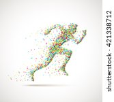 running man silhouette made of... | Shutterstock .eps vector #421338712