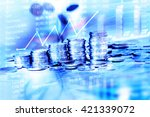 the coins stacked with falling... | Shutterstock . vector #421339072