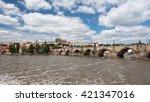 charles bridge in prague on a... | Shutterstock . vector #421347016