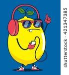 cool lemon character vector... | Shutterstock .eps vector #421347385