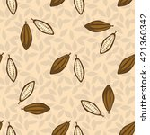 cacao beans seamless pattern.... | Shutterstock .eps vector #421360342