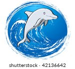 jumping happy dolphin over big... | Shutterstock .eps vector #42136642