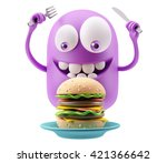 eating hamburger emoticon face. ... | Shutterstock . vector #421366642