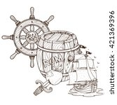 barrel of rum  pirate ship  the ... | Shutterstock .eps vector #421369396