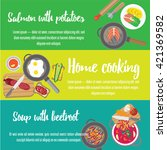 banners about food. preparing... | Shutterstock .eps vector #421369582