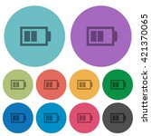 color half battery flat icon...