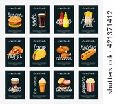 set of fastfood tags  ... | Shutterstock .eps vector #421371412