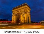 arc de triomphe in paris ...   Shutterstock . vector #421371922