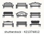 outdoor benches black line... | Shutterstock .eps vector #421376812