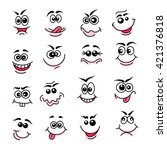 doodle happy faces. hand drawn...   Shutterstock .eps vector #421376818