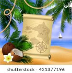 pirate treasure map on tropical ... | Shutterstock .eps vector #421377196
