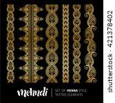 vector illustration of mehndi... | Shutterstock .eps vector #421378402