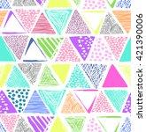 cute triangle print   seamless...   Shutterstock .eps vector #421390006