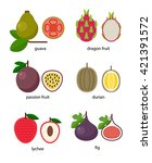 set of exotic fruit  guava ... | Shutterstock .eps vector #421391572