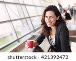 portrait of beautiful 40 years... | Shutterstock . vector #421392472